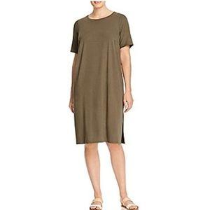 Eileen Fisher olive green shirt midi dress
